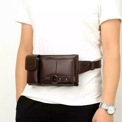 Men's Waist Chest Bags Shoulder Messenger PU Leather Casual Zipper Solid Color Travel Crossbody