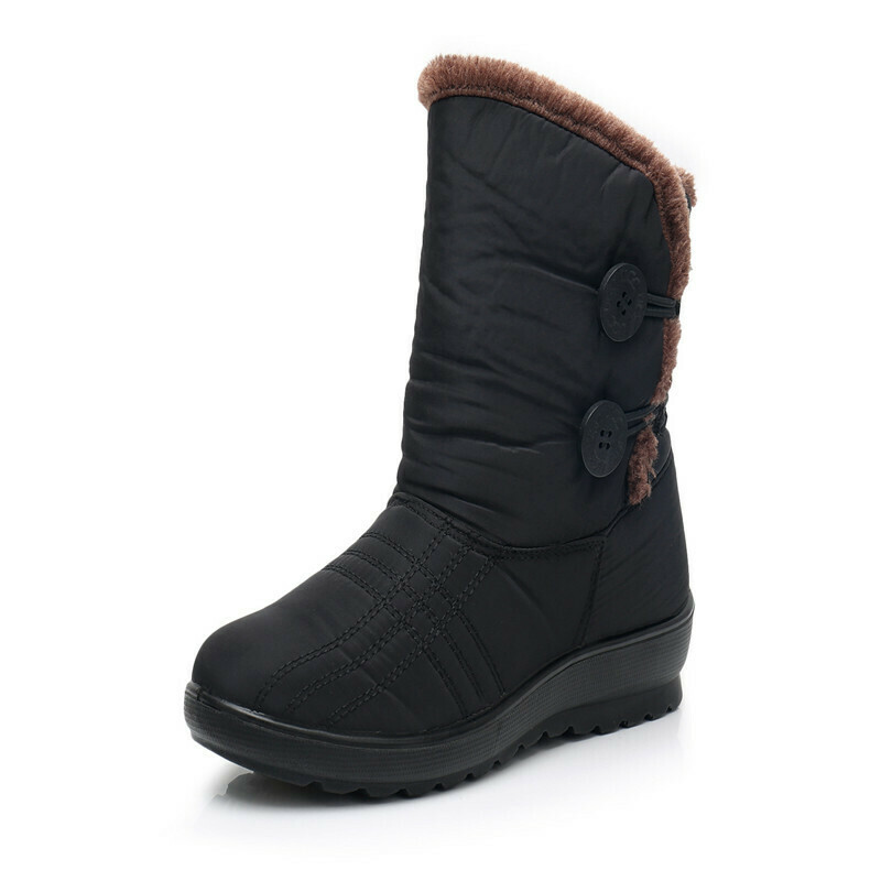 Woman Winter Cashmere Mother Cotton Shoes Flat Waterproof Snow Boot Ladies Non-slip Warm Boots