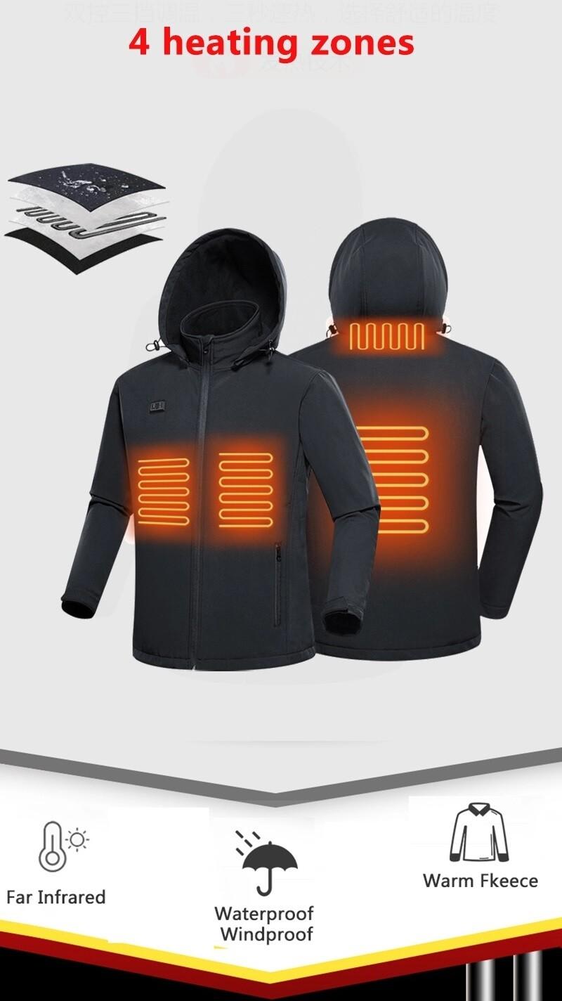 Heated Jacket/Winter Windbreaker/Waterproof/Plain Hardshell/Black/Men/women/5V USB Battery/Power tank