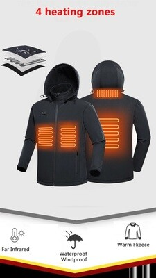 Heated Jacket/Winter Windbreaker/Waterproof/Plain Hardshell/Black/Men/women/5V USB Battery/Power tank