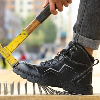 Rubber Working Boots /Men /Waterproof Steel Toe Leather/Safety Shoes/Industrial