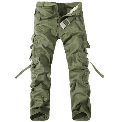 Men's Casual Solid Loose Trousers Pleated Multi Pockets Mid Waist Cargo