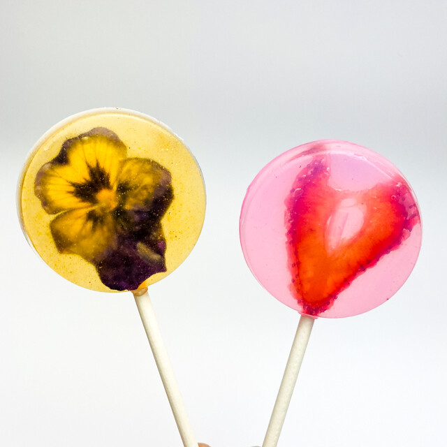 Artisanal Sugar-Free Large Lollipop Gift Box: Strawberry, Blueberry, Orange, & Cherry