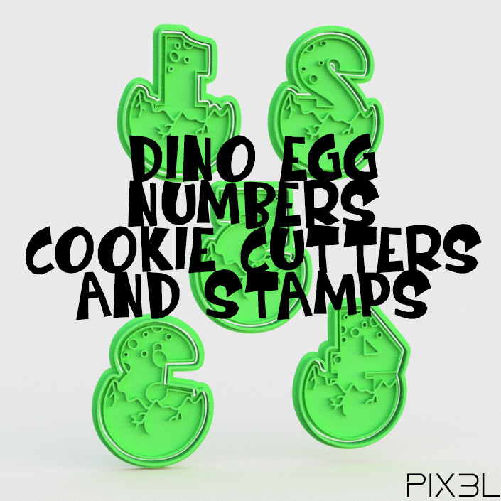 Dino Egg Numbers Cookie Cutters & Stamps