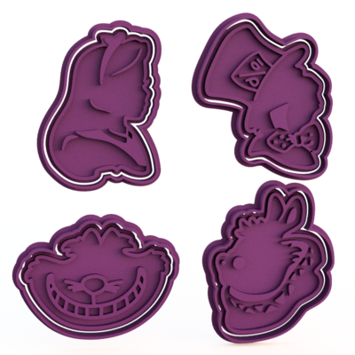 Alice in Wonderland Cookie Cutters & Stamps