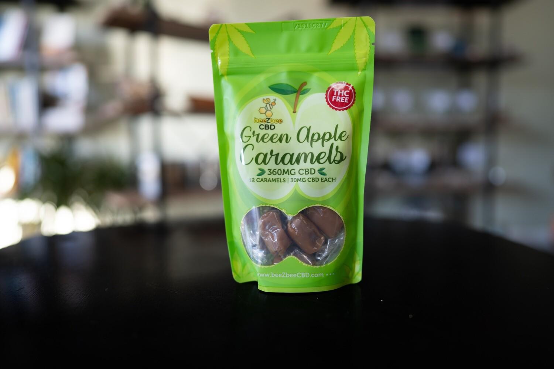 beeZbee CBD Caramels - 30mg CBD- Bag of 12- Green Apple