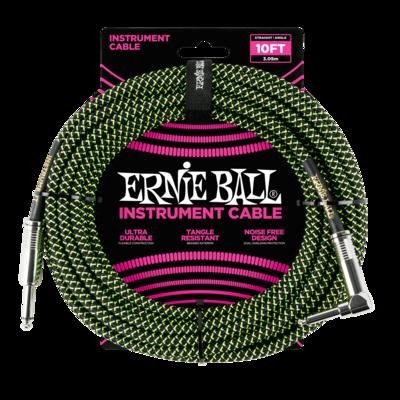 Ernie Ball Instrument Cable (10FT Vert/Noir)