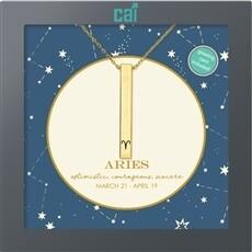 CAI Gold Aries Secret Message Necklace