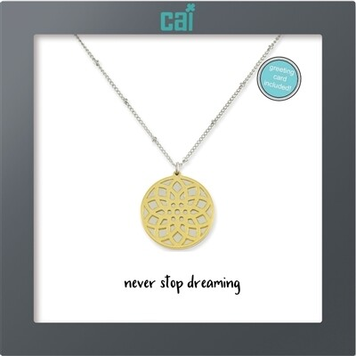 CAI Floral Disc Never Stop Dreaming Necklace