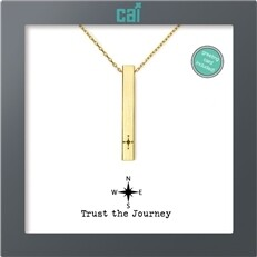 CAI Gold Compass Trust the Journey Secret Message Necklace