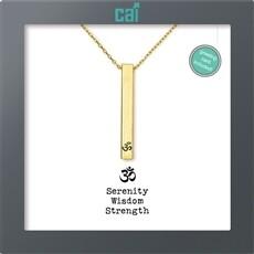 CAI Gold OM Serenity Wisdom Strength Secret Message Necklace