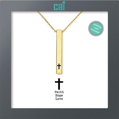 CAI Gold Cross Faith Hope Love  Secret Message Necklace