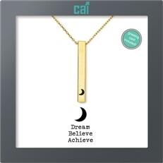 CAI Gold Moon Dream Believe Achieve Secret Message Necklace