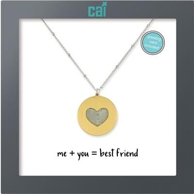 CAI Heart Disc Me & You Best Friend Necklace