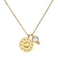 Satya Jewelry blue topaz sun pendant necklace