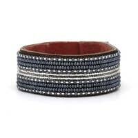 Swahili coast Medium stripe leather cuff Silver & Slate