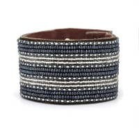 Swahili coast Large stripe leather cuff Silver & Slate