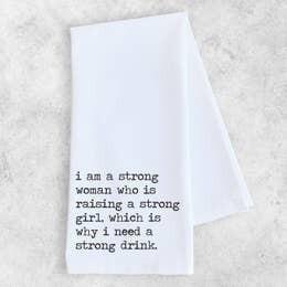 Dev D and Co. Raising a strong girl Tea Towel