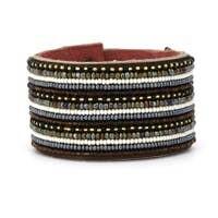 Large Leather Cuff Neutral Stripe