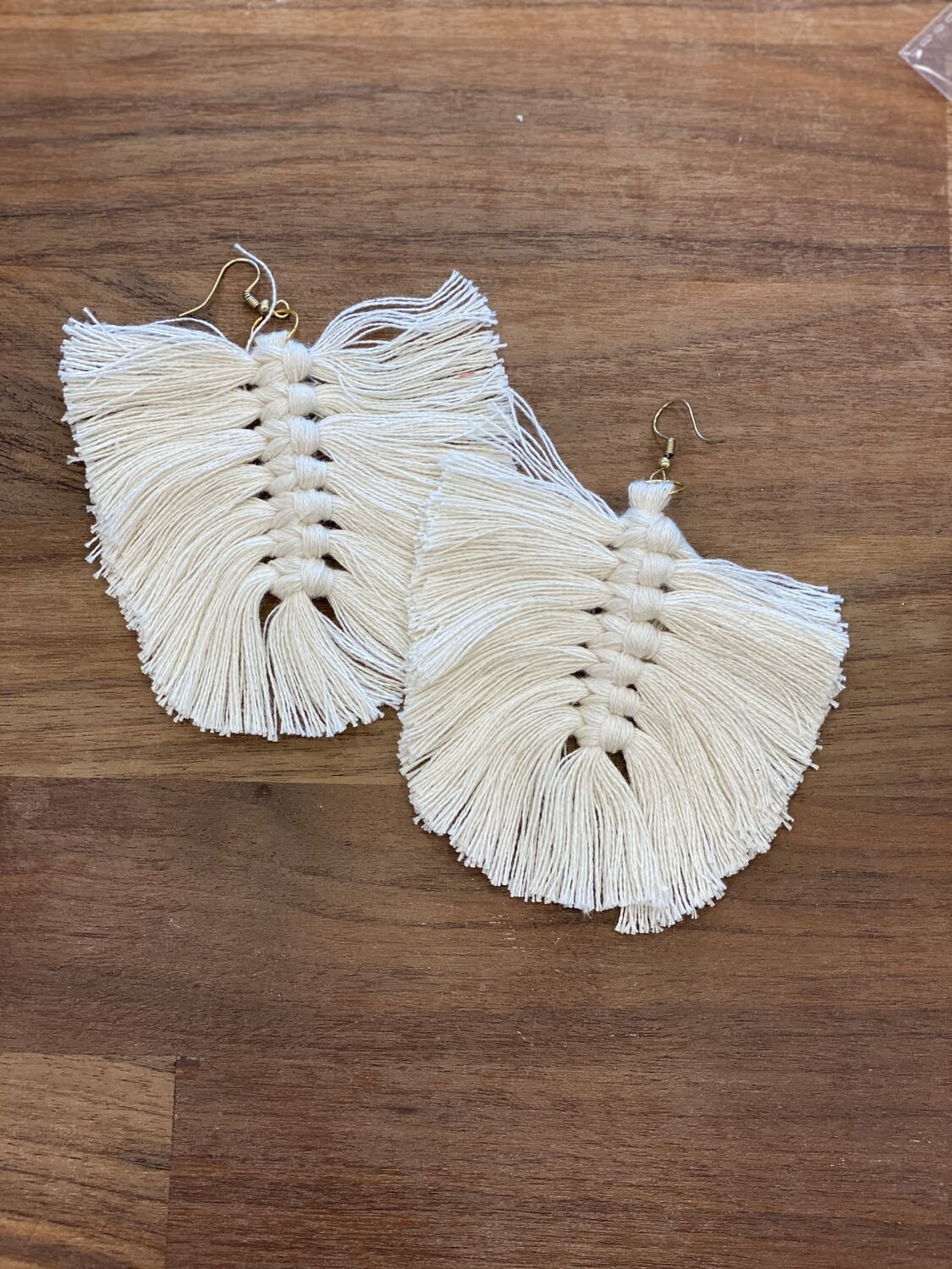 Antique brass with ivory feather woven cotten earring