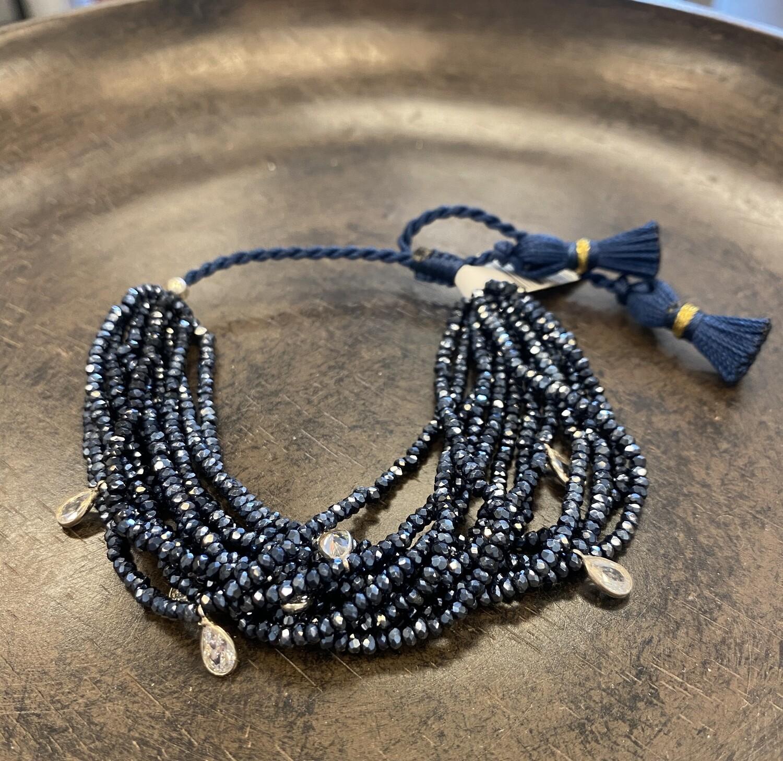 12 strand swarovski crystal bracelet in Navy