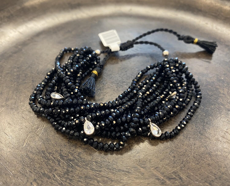 12 strand Swarovski crystal bracelet in black