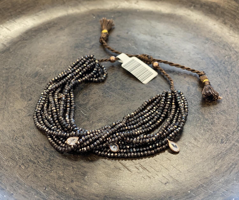 12 strand Swarovski crystal bracelet in brown