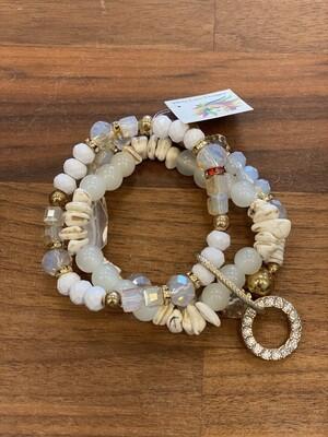 WL Triple Strand Bracelet, White Agate & Shell