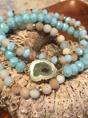 WL Amazonite and Druzy Triple Strand Bracelet