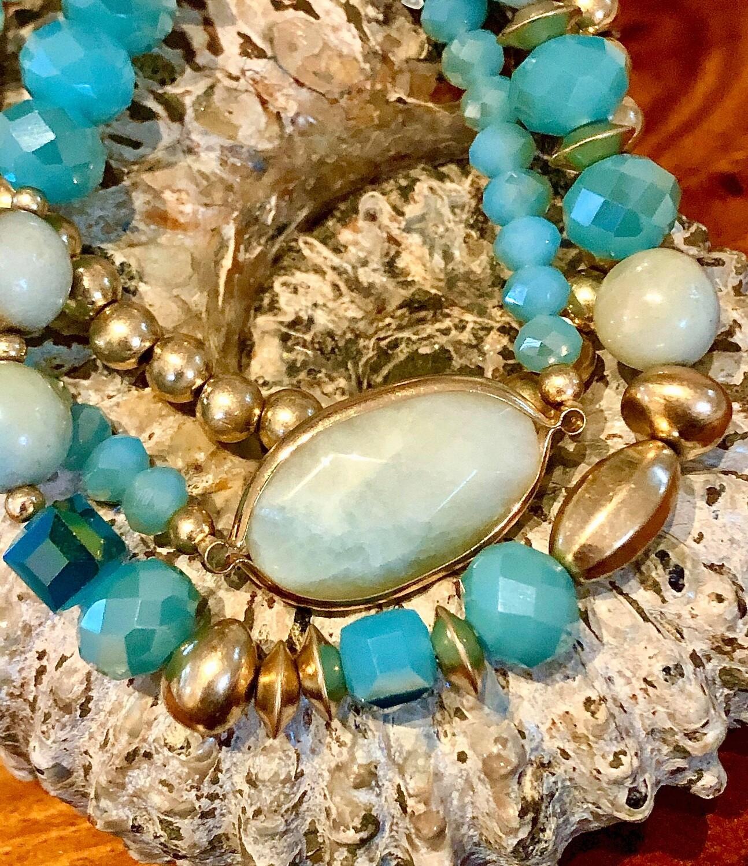 WL Amazonite Triple Strand Stackable Bracelet