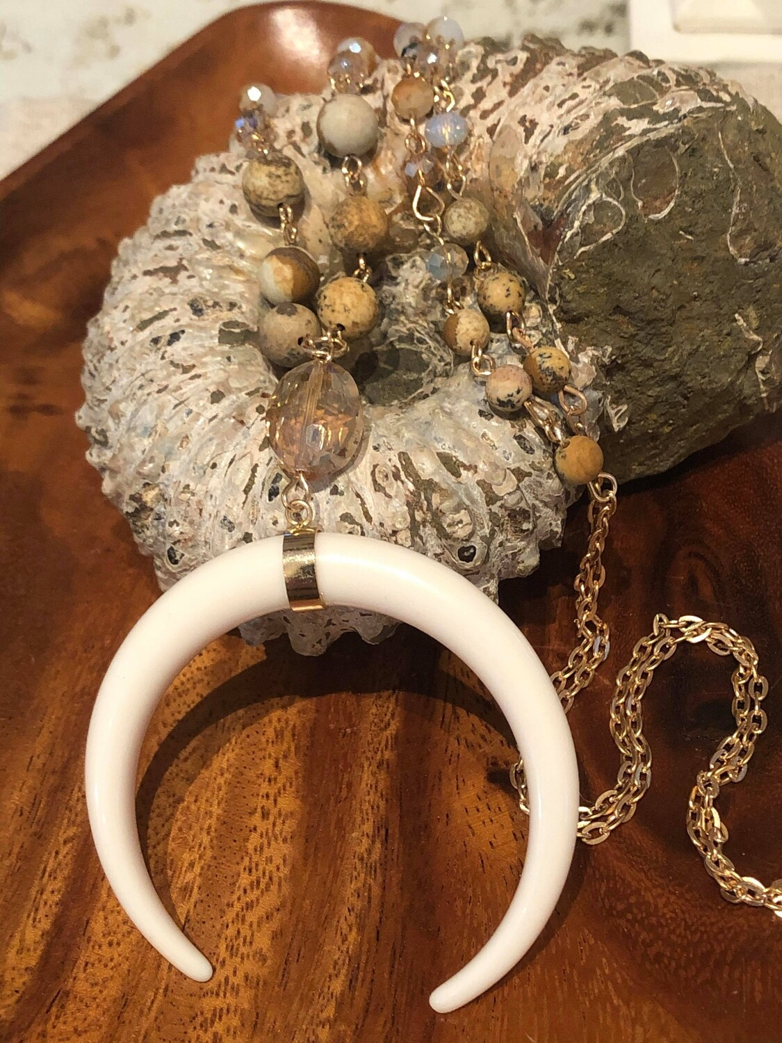 WL Jasper and Crystal Necklace