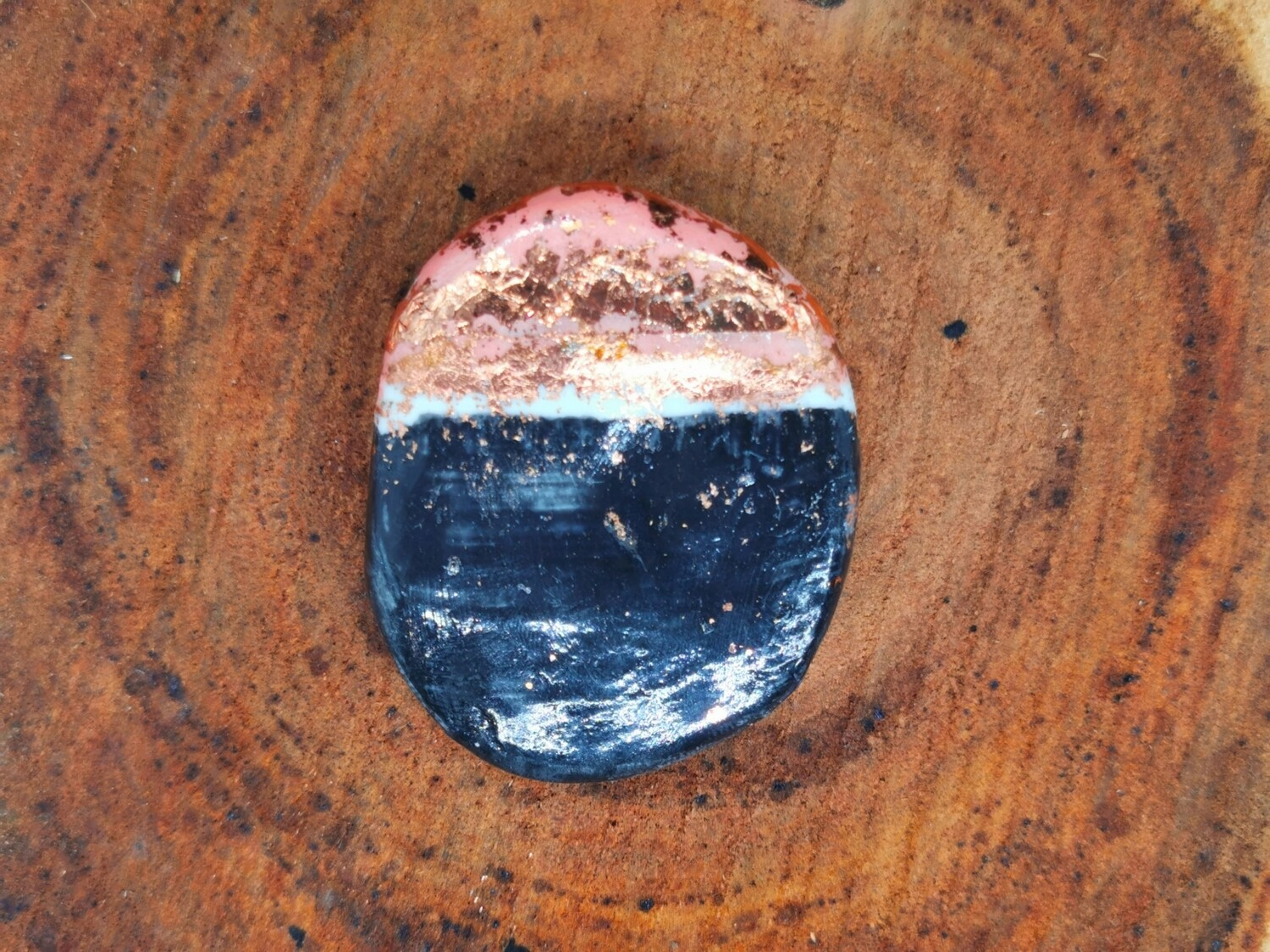 Black Peach and Copper Oval Brooch