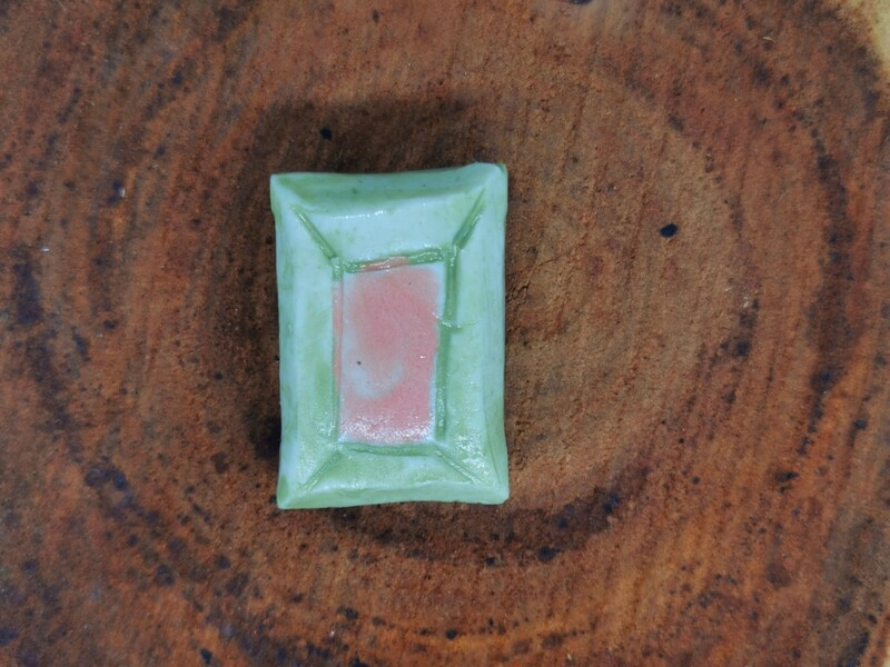 Green and Pink Faceted Porcelain Brooch