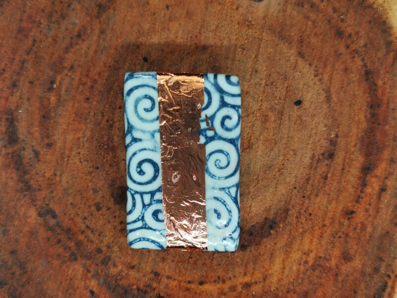 Blue Swirl and Copper Leaf Brooch