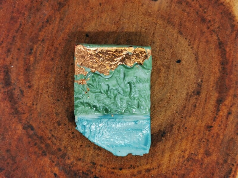 Blue Green and Copper Leaf Garden Brooch