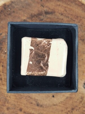Blush and Copper Rectangular Ring on Silver Coloured Band
