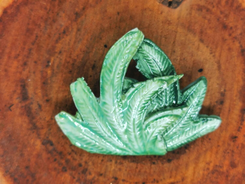 Green Palms Brooch