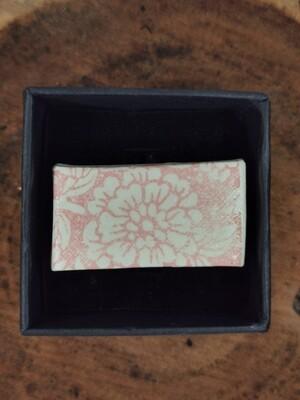 Rectangular Patterned Pink Flora Ring with Silver Coloured Band