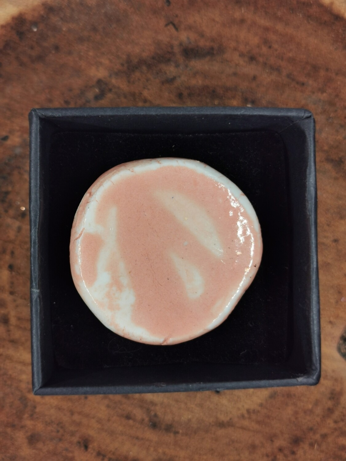 Glossy peach Round Ring with Brass Band