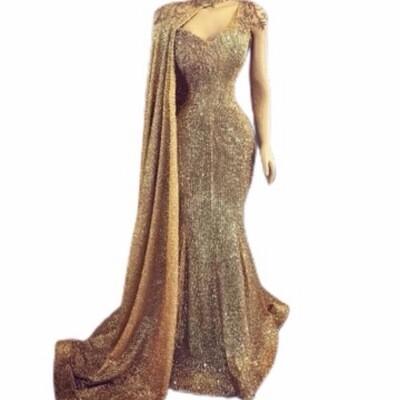 Lisa T Gold Sleeveless Stretch Sequin Evening Dress w/ Cape