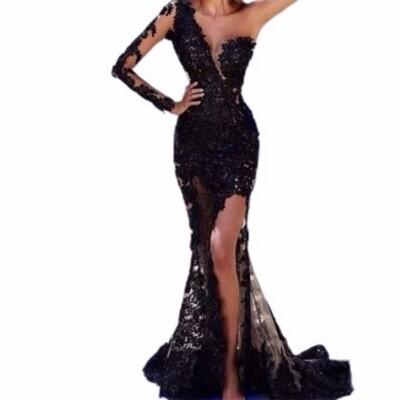 Lisa T Lace One Shoulder Evening Dress