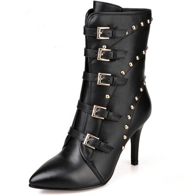 Buckle Rivet High Heel Lace Up Zipper Boots