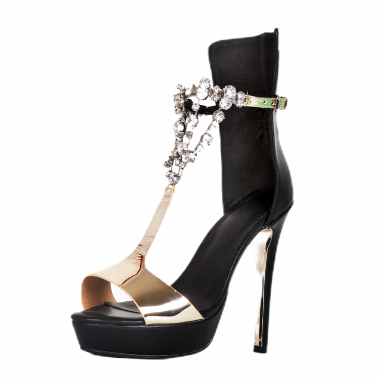 Black and Gold Platform Open Toe with Rhinestone