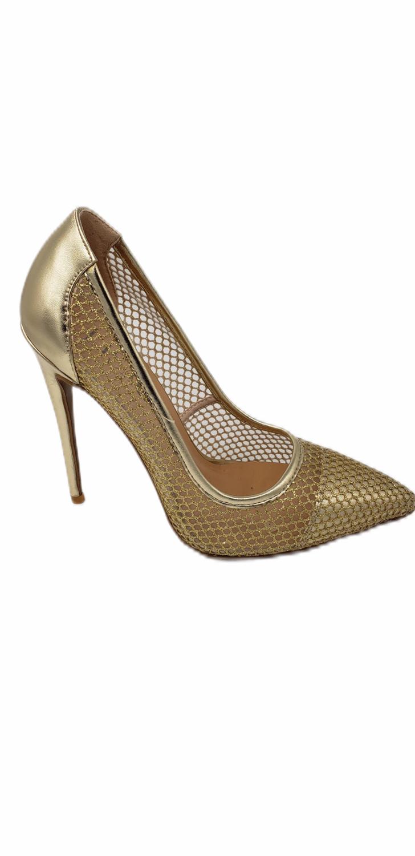 Gold Glitter High Heel Pumps