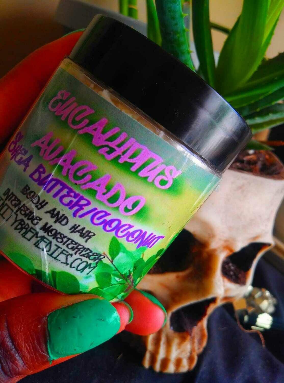 Eucalyptus, Shea Butter, Avocado, and coconut oil skin and Hair Moisturizer, 4 OZ