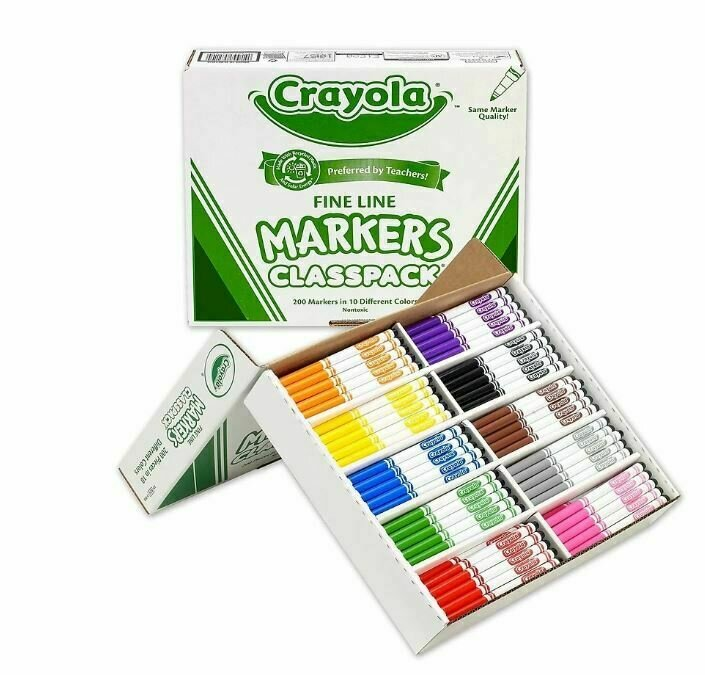 Crayola 200 Fine Tip Markers in 10 Assorted Colours, Classpack