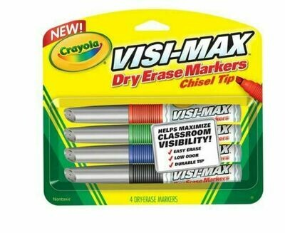 Crayola 4 Dry Erase Chisel Tip Markers, 12/CS (48 Markers)