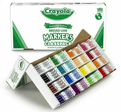 Crayola Broad Line Washable Markers Classpack, Assorted Colours 256CT - 16 Different Colours