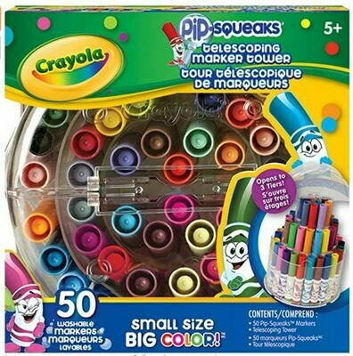 Crayola Pip-Squeaks, Telescoping Marker Tower, 50 Markers, Assorted Colours 4/CS