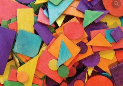 Coloured Flat Wooden Shapes